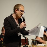 """Trace Peterson, Plenary panel, """"Identity and Poetics Across Genres,"""" May 24, 2014 (Photo by Iris Allen)"""